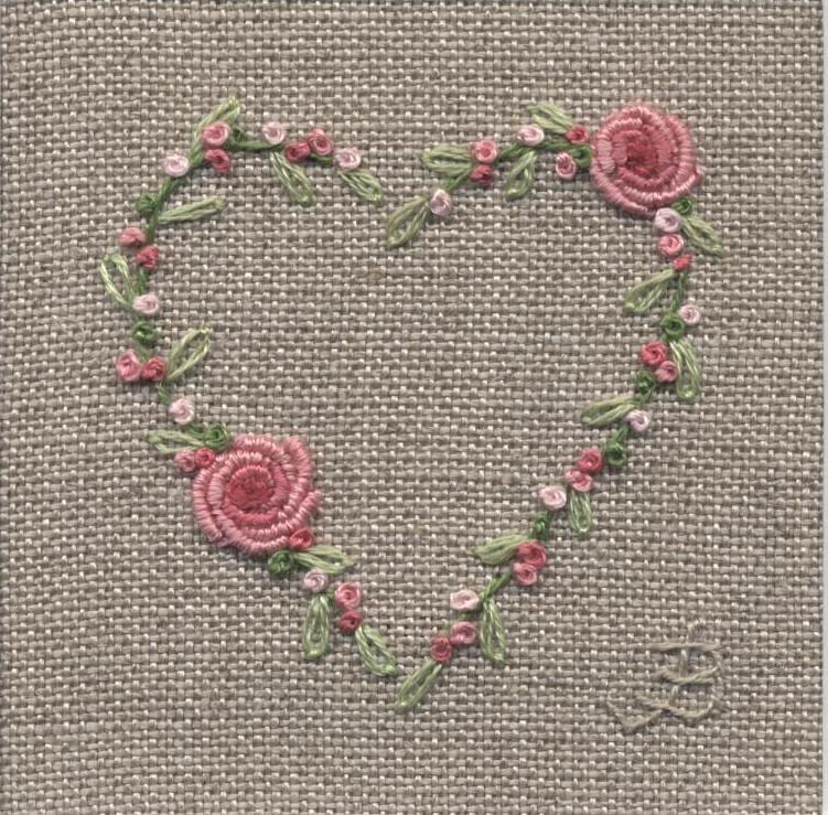 Jo butcher embroidery artist rose heart