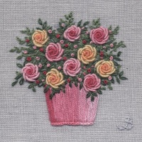 Bowl of Roses. Hand Embroidery