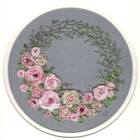 Pink Ribbon Rose Wreath. Silk Ribbon Hand Embroidery