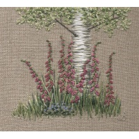 Silver Birch & Foxgloves. Hand Embroidery