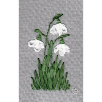 Three Snowdrops. Silk Hand Embroidery