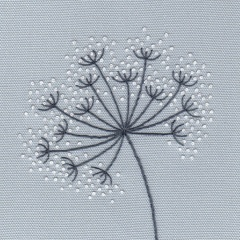 Cow Parsley – Duck Egg Kit. Hand Embroidery