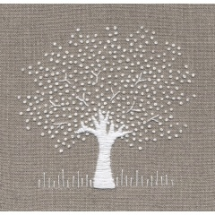 White Tree on Linen Hand Embroidery Kit