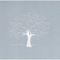 White Tree on Linen - Duck Egg. Hand Embroidery Kit
