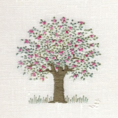 Apple Blossom Tree. Hand embroidery