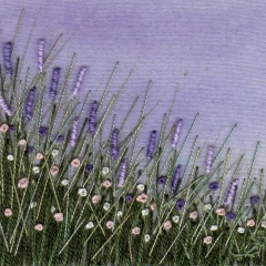 Lavender Meadow. Hand embroidery on a painted background