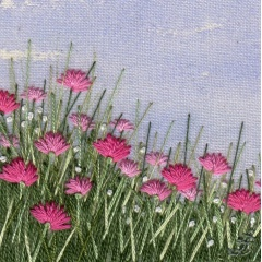 Pink Meadow. Hand embroidery on a painted background