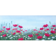 Poppy, Daisy & Cornflower Meadow. Hand embroidery on a painted background