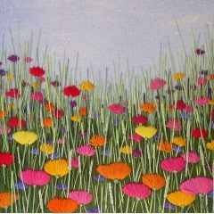 Rainbow Meadow. Hand embroidery on a painted background