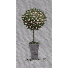 Rose Tree - pink. Hand Embroidery