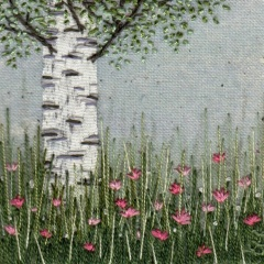 Pink Flowers Under the Silver Birch. Hand Embroidery
