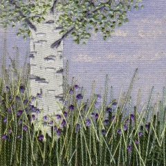 Silver Birch Tree with Bluebells. Hand embroidery