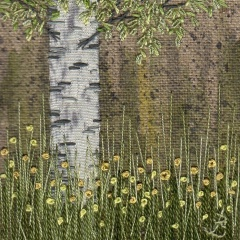 Silver Birch Tree with Buttercups. Hand embroidery