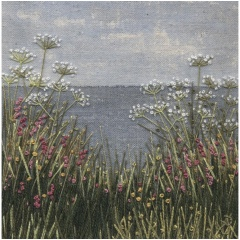Seascape Meadow. Hand embroidery on a painted background