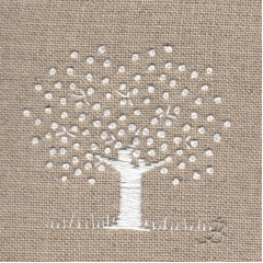 White Tree on linen. Hand Embroidery