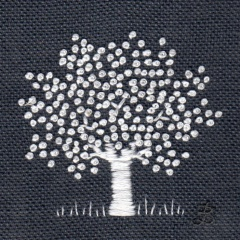 White Tree on Charcoal. Hand Embroidery
