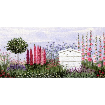 Floral Border and Beehive. Hand Embroidery Kit