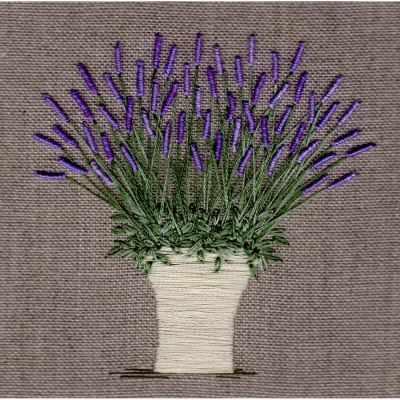 Lavender Pot. Hand Embroidery Kit