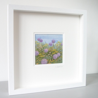 Jo Butcher embroidery artist Allium Meadow Hand embroidery on a painted background