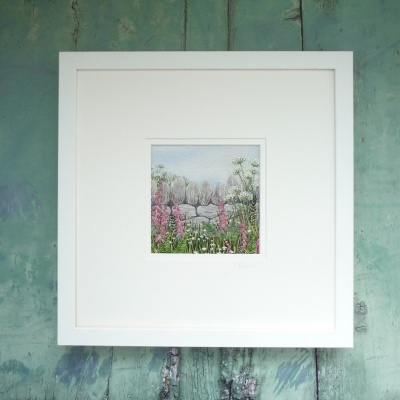 Dry Stone Wall & Foxgloves. Hand embroidery on a painted background