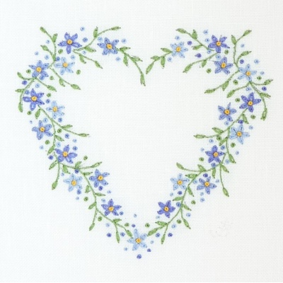 Forget Me Not Heart. Hand Embroidery