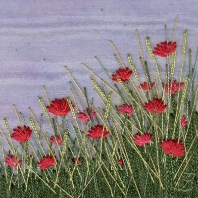 Poppy Meadow. Hand embroidery on a painted background