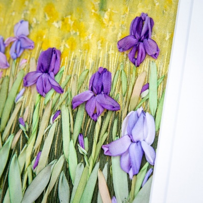 Irises. Silk Ribbon Hand Embroidery