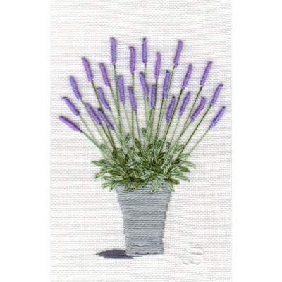 Lavender Pot. Hand Embroidery