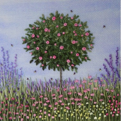 Rose Bush in Flower Border. Hand Embroidery