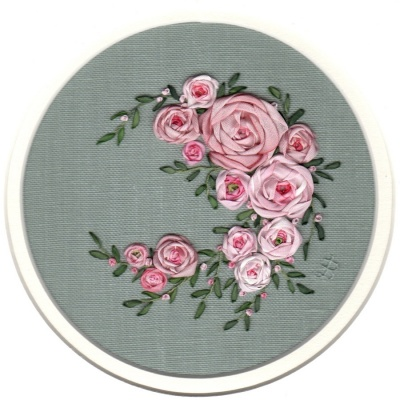 Pink Ribbon Rose Crescent. Silk Ribbon Hand Embroidery