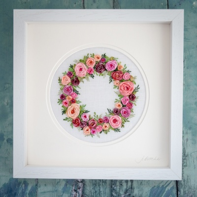 Ribbon Rose Wreath. Silk Ribbon Hand Embroidery