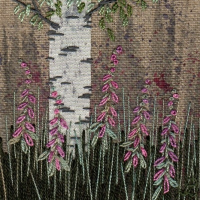 Silver Birch Tree with Foxgloves. Hand Embroidery