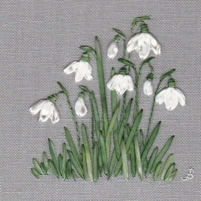 Snowdrops. Silk Hand Embroidery