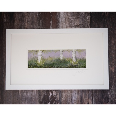 Bluebells under the Silver Birches Hand embroidery on a painted background