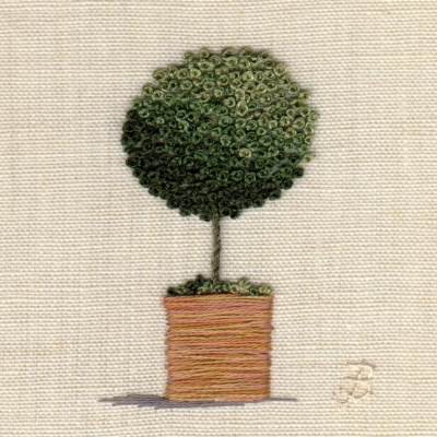 Topiary Tree. Hand Embroidery
