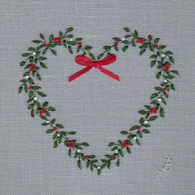 Christmas Wreath. Hand Embroidery